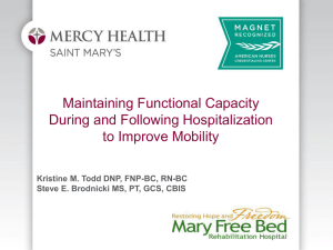Maintaining Functional Capacity During and Following Hospitalization to Improve Mobility