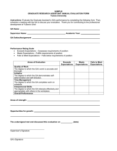 SAMPLE GRADUATE RESEARCH ASSISTANT ANNUAL EVALUATION FORM Tulane University