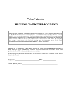 Tulane University  RELEASE OF CONFIDENTIAL DOCUMENTS
