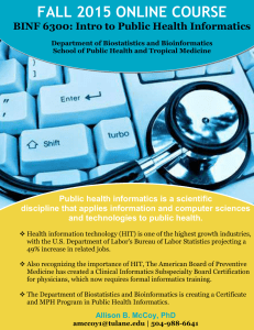 FALL 2015 ONLINE COURSE BINF 6300: Intro to Public Health Informatics