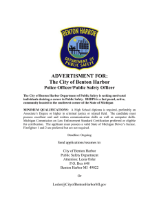 ADVERTISMENT FOR: The City of Benton Harbor Police Officer/Public Safety Officer