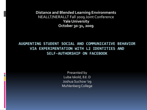 AUGMENTING STUDENT SOCIAL AND COMMUNICATIVE BEHAVIOR SELF-AUTHORSHIP ON FACEBOOK