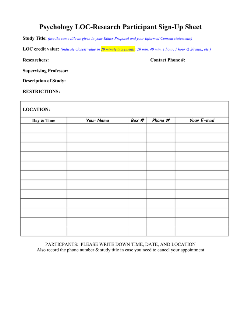 psychology loc research participant sign up sheet study title loc