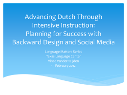 Advancing Dutch Through Intensive Instruction: Planning for Success with