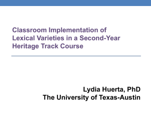 Classroom Implementation of Lexical Varieties in a Second-Year Heritage Track Course