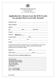 Application for a licence to use the ICD-O codes