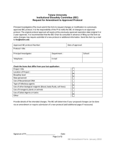 Tulane University Institutional Biosafety Committee (IBC) Request for Amendment to Approved Protocol