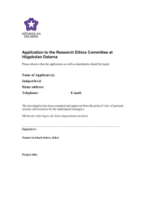 Application to the Research Ethics Committee at Högskolan Dalarna