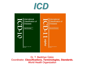 ICD Dr. T. Bedirhan Üstün Classifications, Terminologies, Standards. World Health Organization