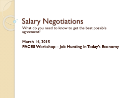 Salary Negotiations agreement? March 14, 2015
