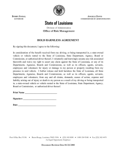 State of Louisiana Office of Risk Management HOLD HARMLESS AGREEMENT