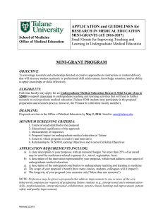 MINI-GRANT PROGRAM APPLICATION and GUIDELINES for RESEARCH IN MEDICAL EDUCATION