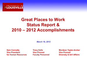 Great Places to Work Status Report & – 2012 Accomplishments 2010