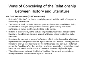 Ways of Conceiving of the Relationship Between History and Literature