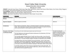 Grand Valley State University General Education Subcommittee Minutes of 11-9-09
