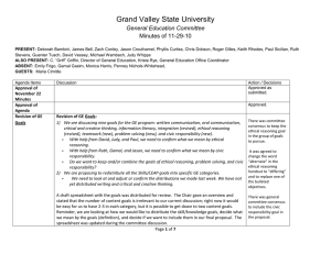 Grand Valley State University General Education Committee Minutes of 11-29-10