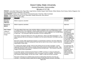 Grand Valley State University General Education Subcommittee Minutes of 12-7-09