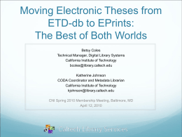 Moving Electronic Theses from ETD-db to EPrints: The Best of Both Worlds