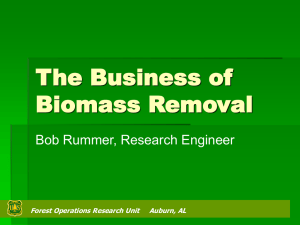 The Business of Biomass Removal Bob Rummer, Research Engineer