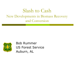 Slash to Cash New Developments in Biomass Recovery and Conversion Bob Rummer