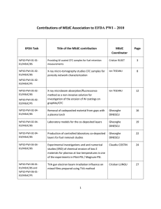 Contributions of MEdC Association to EFDA PWI – 2010  EFDA Task