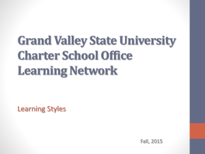 Grand Valley State University Charter School Office Learning Network Learning Styles