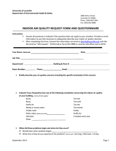 INDOOR AIR QUALITY REQUEST FORM AND QUESTIONNAIRE