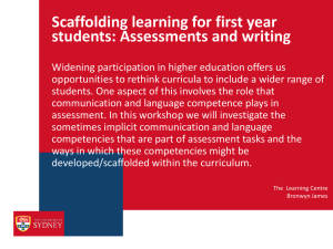 Scaffolding learning for first year students: Assessments and writing