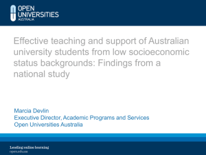 Effective teaching and support of Australian university students from low socioeconomic