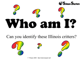 Who am I? Can you identify these Illinois critters? T. Trimpe 2008