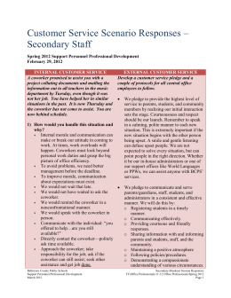 Customer Service Scenario Responses – Secondary Staff