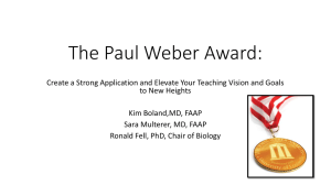 The Paul Weber Award: