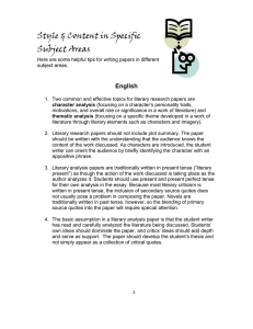 Style & Content in Specific Subject Areas  English