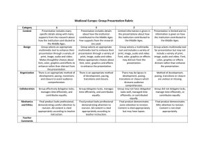 Medieval Europe: Group Presentation Rubric