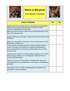 Native to Maryland  Oral Report Checklist Steps Completed