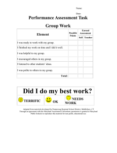 Performance Assessment Task Group Work Element