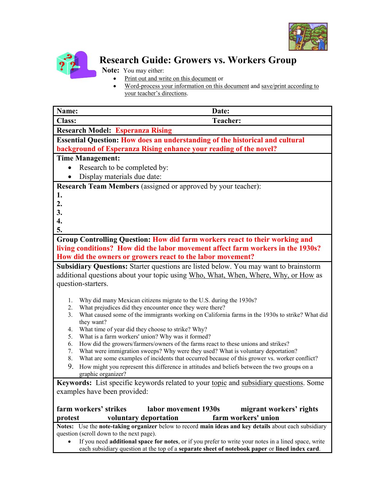 Uncategorized Esperanza Rising Worksheets research guide growers vs workers group note