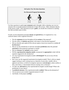 Self and/or Peer Revision Questions For Research Proposal Introduction  your comments