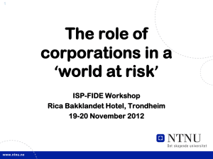 The role of corporations in a 'world at risk' ISP-FIDE Workshop