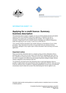 Applying for a credit licence: Summary business description INFORMATION SHEET 113