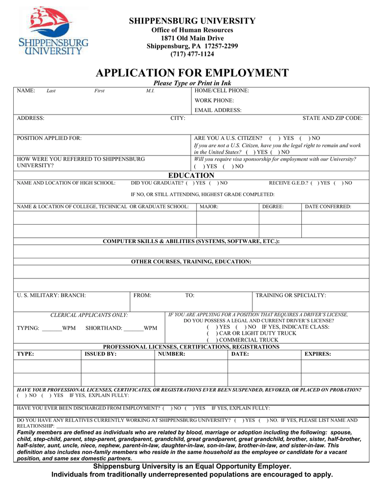 Application For Employment Shippensburg University Office Of Human