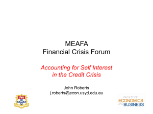MEAFA Financial Crisis Forum Accounting for Self Interest in the Credit Crisis