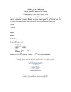 NCCLA 2016 Conference University of Wisconsin-La Crosse Student Travel Grant Application Form
