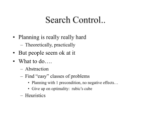 Search Control.. • Planning is really really hard • What to do….