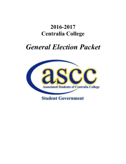 General Election Packet 2016-2017 Centralia College