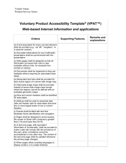 VPAT™) Voluntary Product Accessibility Template Software ...