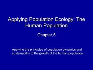 Applying Population Ecology: The Human Population Chapter 5