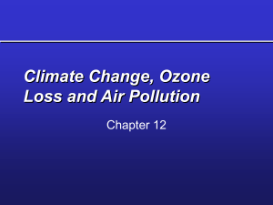 Climate Change, Ozone Loss and Air Pollution Chapter 12