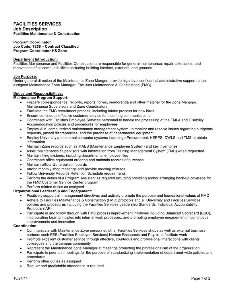 Program Coordinator Job Description | Facilities Services Job Description