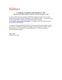 SALISBURY UNIVERSITY PROCEDURES ON THE FILING OF INSTITUTIONAL POLICY MANUALS